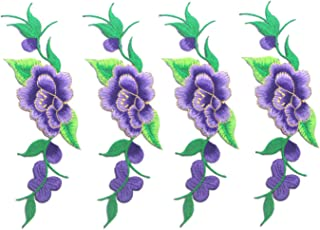 Zeng 4 PCS big lace fabric embroidered flowers applique sew on patches patch reason clothes decorated DIY sewing supplies