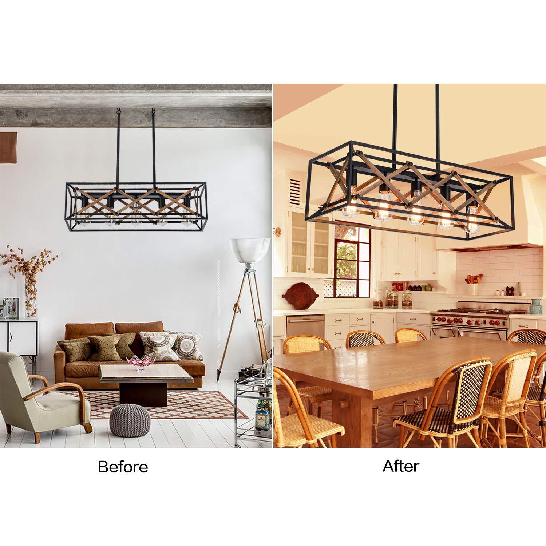 XIPUDA Lámpara de techo para mesa de billar, 5 luces, iluminación ...