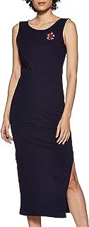 Zima Leto - Abito da donna in maglia ricamata, colore: blu navy