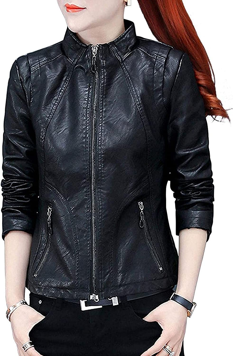 Women's Stand Collar Zip Front Bike Slim Motorcycle Faux Leather Complete Free Shipping Max 87% OFF