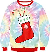 URVIP Unisex 3D Graphic Ugly Christmas Sweater Funny Crew Neck Pullover Sweatshirt