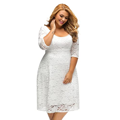 9253e35fdf8 Sunshine Plus Size Dress White Floral Lace Sleeved Fit and Flare Curvy Dress