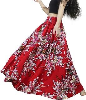 طباعة الأزهار ماكسي التنانير اللباس الطويل للنساء الفتيات زائد الحجم الأحمر الربيع الصيف الخريف القطن الكتان