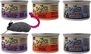 Beyond Purina Grain Free Adult Wet Cat Food 3 Flavor Variety 6 Can with Toy Bundle, (2) Each: Turkey Sweet Potato Spinach, Chicken Beef Carrot, Arctic Char Fish Spinach (3 Ounces)