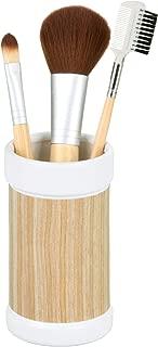InterDesign RealWood Ceramic Tumbler Cup for Bathroom Vanity Countertops - White/Light Wood Finish