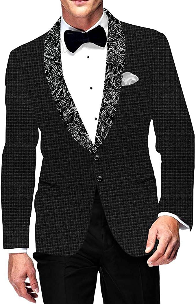 INMONARCH Mens Slim fit Casual Black Blazer Sport Jacket Coat Shawl Lapel Checks SB15677