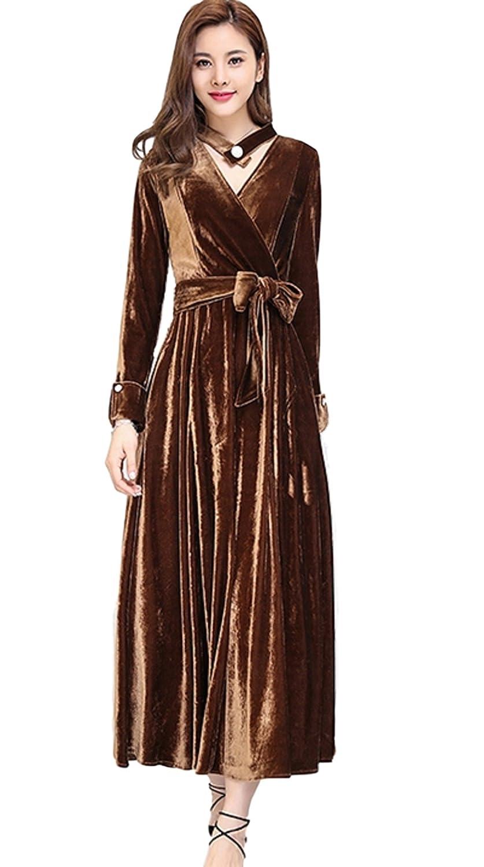 春ロングワンピースドレス 長袖ワンピースドレス Vネックワンピースドレス ベルベットワンピースドレス ビロードワンピースドレス om94