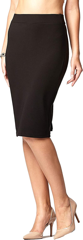 Premium Women's Pencil Skirt - Elastic Waist - Stretch Bodycon Midi Skirt - Many Colors