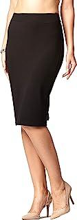 Premium Women's Pencil Skirt - Elastic Waist - Stretch...