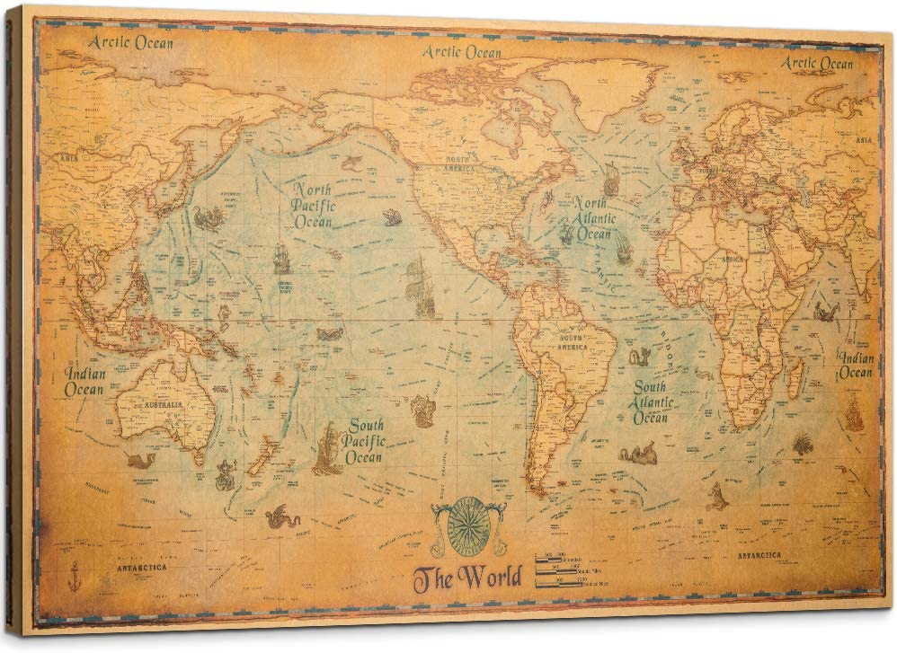 YOUHONG Vintage Ranking TOP14 World Map Canvas Wall Retro of The Decor Max 51% OFF Wor