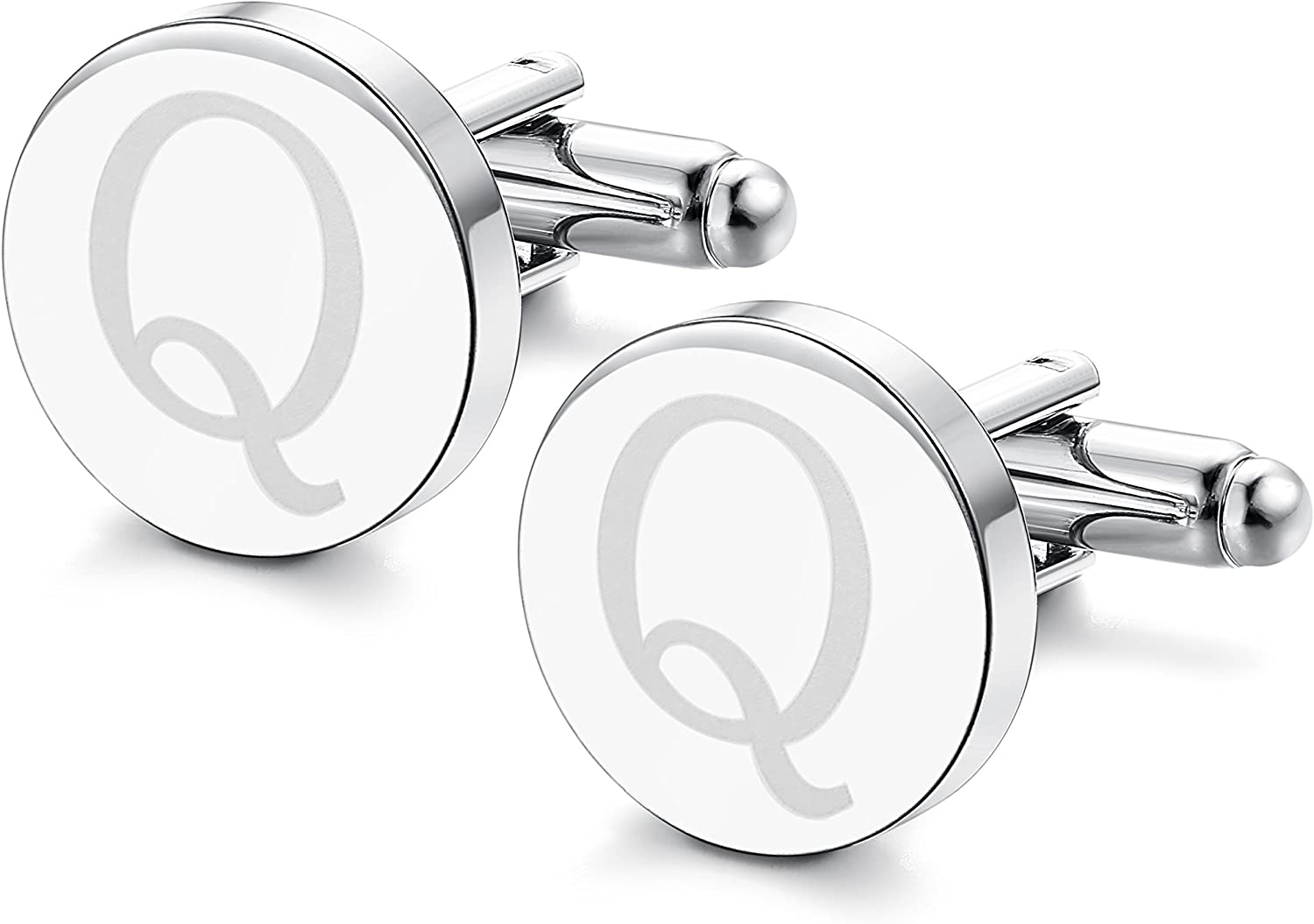 ORAZIO Mens Classic Engraved Initial Cufflinks Alphabet Letter Cufflinks Formal Kit Business Wedding Shirts Q