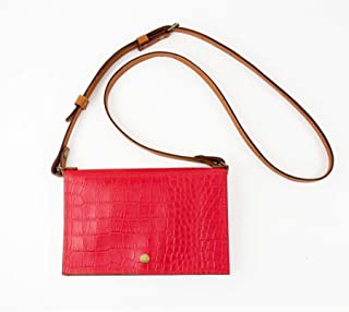 Festival Belt Bag Converts to Cross Body Purse in Red Croc Embossed Leather