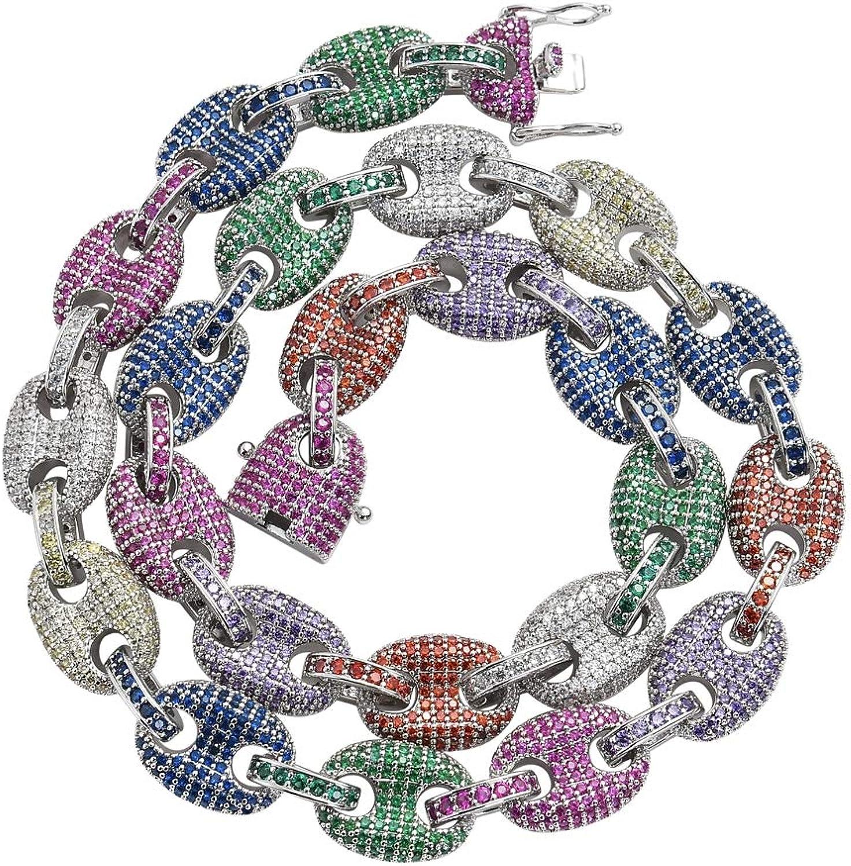 Selia Hip Hop Rainbow Halskette Zircon Pig Nose Chain Coffee Bean Chain Micro Mosaic Nautical Man Button Chain,Silber,S