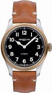Montblanc - Reloj Montblanc 1858 Automático 117833 Esfera Negra Correa Piel marrón