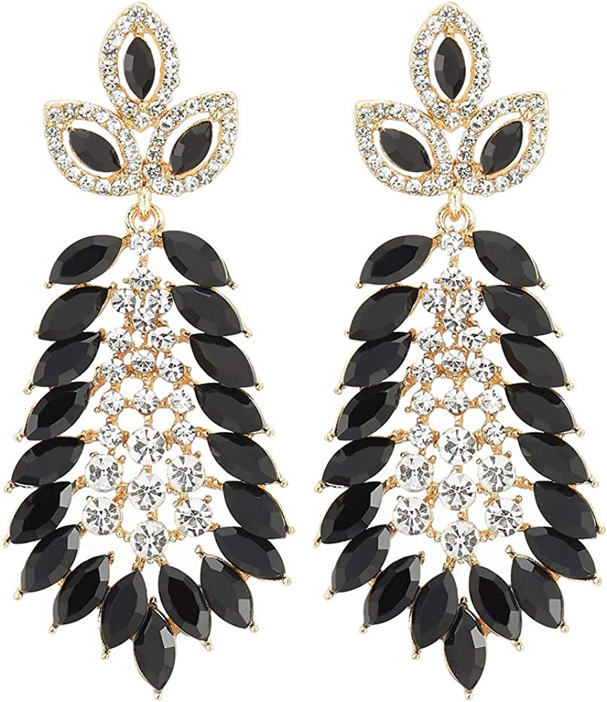 Marquise Black Crystal Rhinestone Cluster Leaf Long Dangle Statement Gold Color Earrings, Party Prom