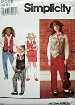 Simplicity Pattern 8568 Girls Pants or Shorts, Lined Vest, Neck Tie and Hat Sizes 7-8-10