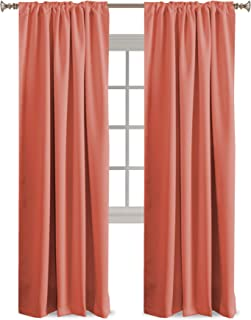 Blackout Curtains Thermal Insulated Window Curtains for Living Room/Bedroom Back Tab/Rod Pocket Home Decoration Draperies Energy Efficiency Panels for Kids Girls Room - Coral - 52
