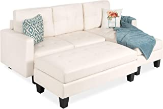 Best Choice Products 3-Seat L-Shape Tufted Faux Leather Sectional Sofa Couch Set w/Chaise Lounge, Ottoman Bench - White