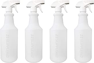 SupplyAID RRS-PSB32-4 Plastic (4 Pack, 32 Oz, All-Purpose) HDPE Heavy Duty Spray Bottles, with Adjustable No-Leak, Non-Clogging Nozzle, For Commercial, Industrial and Household Use