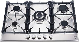 K&H® 5Z-KHSSW Plaque de cuisson à gaz 5 zones en acier inoxydable 76 cm