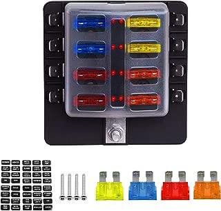 bloque de fusibles para automoci/ón Carviya 10 o 12 v/ías con indicador LED Cajas de fusibles planos Ambuker de 6 8 con terminales de pala y kits de cableado