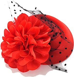 Fascinator Cap Hair Clips Hairpins Ladies Flower Top Hat Party Cocktail Rose Dot Veiling Formal French Lace Headwear