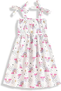 TUEMOS Toddler Girl Clothes Rainbow Pattern Sling Dress Toddler Kid Summer Dress Princess Party Casual Dress