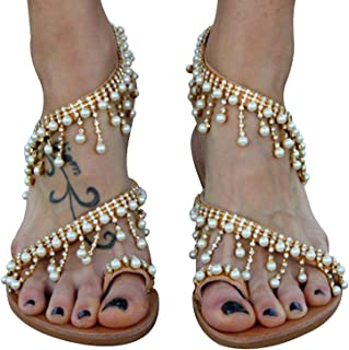 XMWEALTHY Women's Strappy Flat Sandals Bohemia Jeweled Toe Ring Gladiator Sandals Roman Shoes
