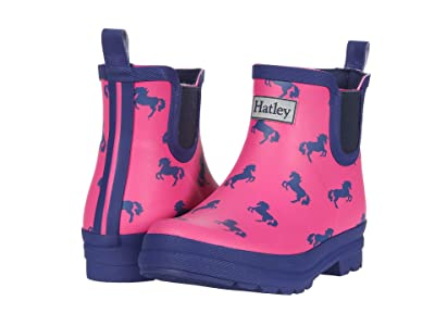 Hatley Kids Playful Ponies Ankle Rain Booties (Toddler/Little Kid) (Pink) Girls Shoes