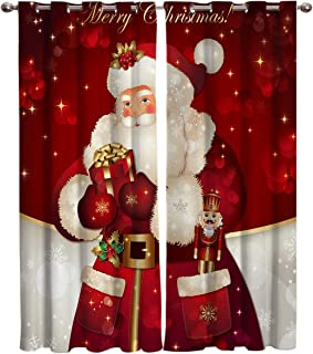 T&H Home Draperies & Curtains Set, Merry Christmas Dreamlike The Santa Claus Window Curtain, 2 Panels Curtain for Sliding Glass Door Patio Door Bedroom Living Room, 104