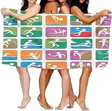ewtretr Bath Towel Olympics Pictograms of The Summer Sports Sailing Wrestling Boxing Fencing Weightlifting Soft Beach Towel Pool Towel 30x50 Lightweight For Beach Gym Yoga