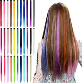 32Pcs Colored Clip in Hair Extensions, BeaHot 20`` Rainbow Long Straight Highlights Hairpieces Clip in Synthetic, Hallowee...