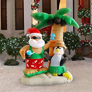 HappyThings! Outdoor Christmas Blow Up Yard Decorations Inflatable Santa on Vacation 7 Foot Tall Palm Tree with Lights