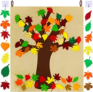 SUPLA Fall Tree of Thanks Craft Kit Felt Fall Tree Board with 52 pcs Detachable Autumn Leaf Ornaments Autumn Bulletin Board for Kids Classroom Craft Thanksgiving Activity