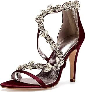 Women High Heels Satin Crystals Wedding Bridal Sandals Open Toe Zipper Back Straps Prom Evening Formal Party Dress Sandals 81430-17