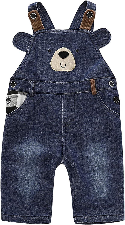 Qinni-shop Kids Blue Cute Bear Denim Overalls