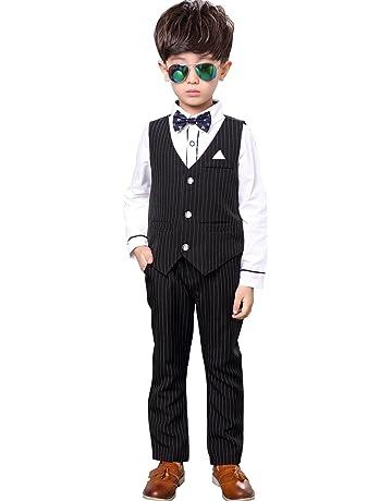 0fe76ec52c49f Emfay 男の子 フォーマル スーツ 子供用 ブラウス ベスト 蝶ネクタイ 入学式 結婚式 七五三 5