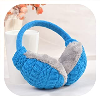 Top Sell Winter Ear Cover Women Warm Knitted Earmuffs Ear Warmers Women Girls Plush Ear Muffs Earlap Warmer Headband,Blue