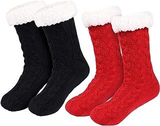 Tacobear, 2 Pares Invierno Calcetines Mujer Calcetines Zapatillas Casa Calcetines Antideslizantes Cálido Calcetines con suela Gruesos Lana Zapatilla Calcetin de Piso para Mujer Niña