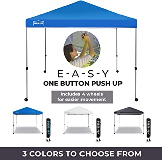 PORTA-POP One Button Easy Pop Up Portable Folding Outdoor Canopy with 4 Wheels and Deluxe Carry Bag, 10 x 10 ft, Blue