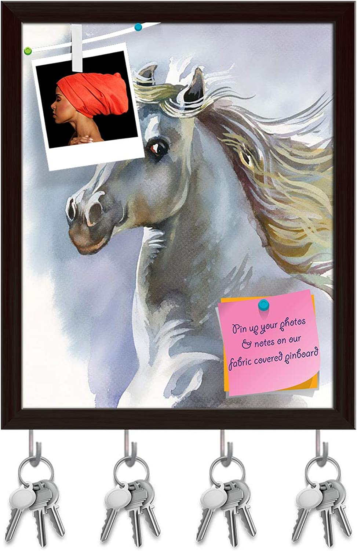 Artzfolio White Horse D3 Key Holder Hooks   Notice Pin Board   Dark Brown Frame 16 X 19.6Inch