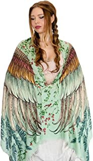 Bird feathers Hand Painted & Printed Pure Cotton Shawl Scarf