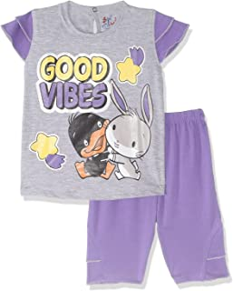 Jockey Printed Contrast Short Sleeves T-shirt with Shorts Pajama Set for Girls - OranGe & Grey, 6-12 Months