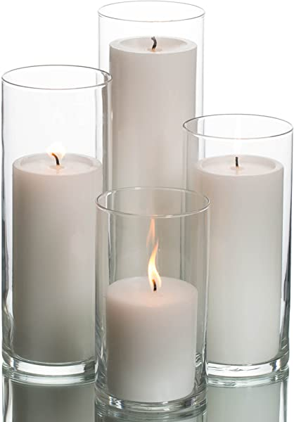 Eastland Cylinder Pillar Holder Richland Pillar Candles White Set Of 4