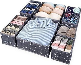 ilauke Lot de 8 Boites de Rangement Pliable, Organiseur de Sous-Vêtements, Organiseur de Tiroir Ideal pour Soutiens-Gorge,...