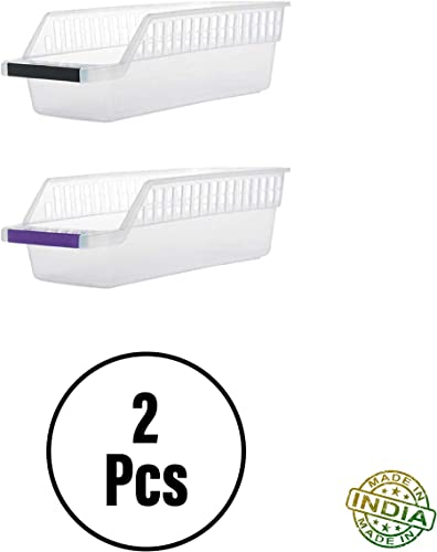 PRISMOSIS Retail Fridge Storage Basket Shelf Organizer Rack Space Saver Food Storage Refrigerator Drawer For Home And Kitchen Plastic Transparent 2