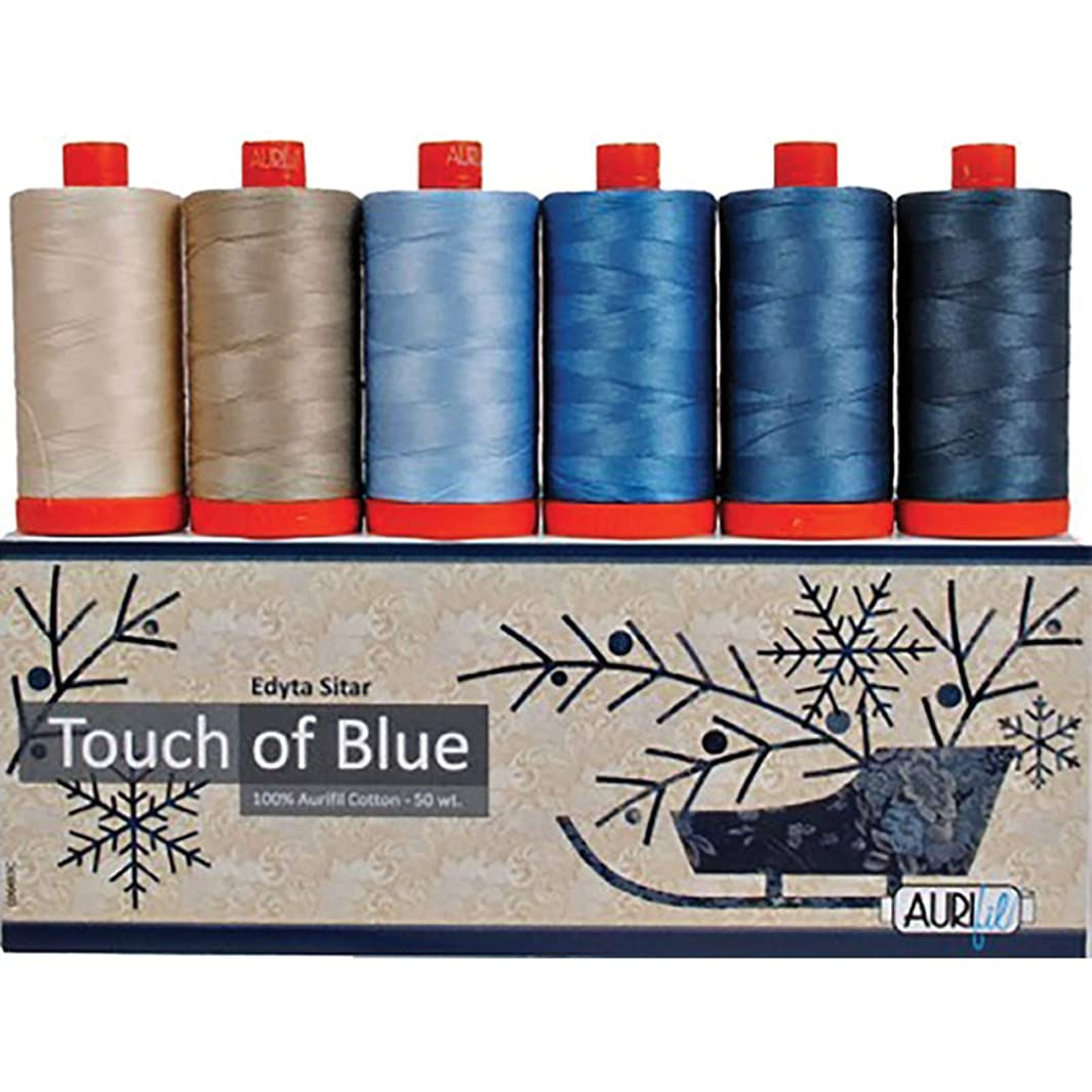 Laundry Basket Quilts Touch of Blue Aurifil Thread Kit 6 Large Spools 50 Weight ES50TB6 t678005836