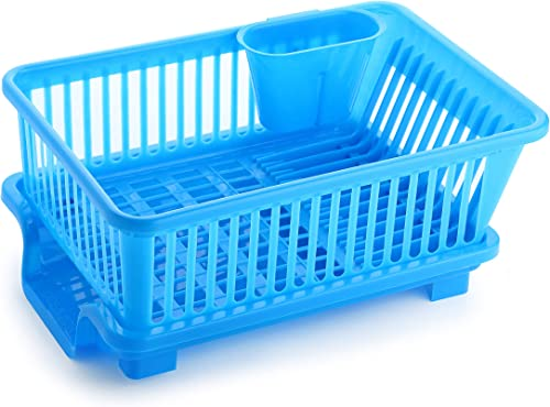 Ganesh 3 in 1 Large Plastic Kitchen Sink Dish Rack Drainer Drying Rack Washing Basket with Tray for Kitchen Dish Rack Organizers Utensils Tools Cutlery Blue