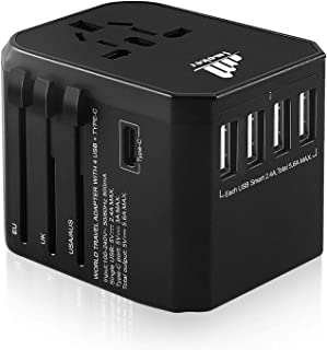 5.6A Travel Power Adapters Plug by Imoker, Universal Wall USB Charger Converter For International World Travelling, USA, E...