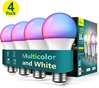 Treatlife Smart Light Bulb 4 Pack, Dimmable Multicolor and White LED Bulb, Compatible with Alexa, Google Assistant, A19 E26 8W (60W Equivalent), No Hub Required